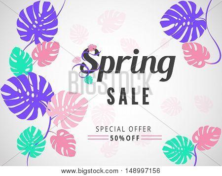 Colourful Spring Sale Banner, Sale Poster, Sale Flyer, Sale Vector. 50 Off, Vector Illustration. Tro