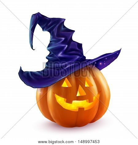 Realistic vector Halloween pumpkin in violet witchs hat. Happy pumpkin face isolated on white background