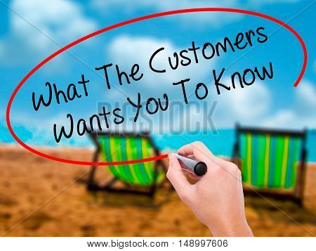 Man Hand Writing What The Customers Wants You To Know With Black Marker On Visual Screen