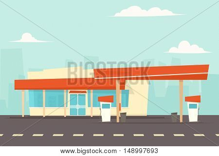 petrol station with pump fuel.