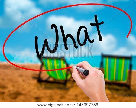 Man Hand Writing What With Black Marker On Visual Screen