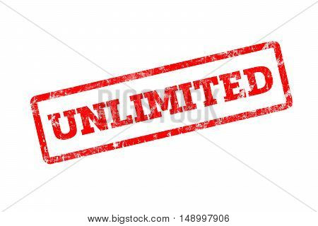 UNLIMITED word written on red rubber stamp with grunge edges.