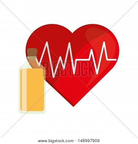 flat design heart cardiogram and juice bottle icon vector illustration