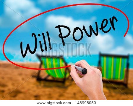 Man Hand Writing Will Power With Black Marker On Visual Screen