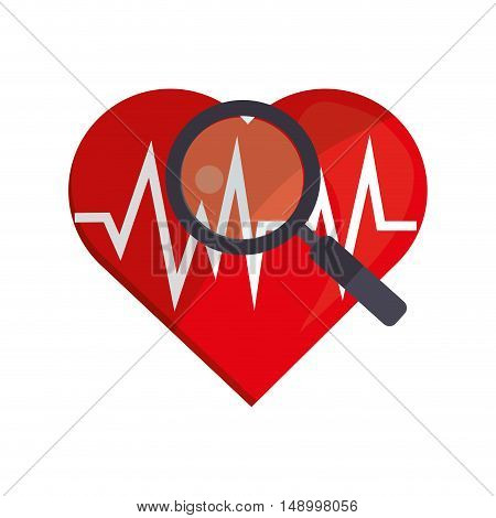 flat design heart cardiogram and magnifying glass icon vector illustration