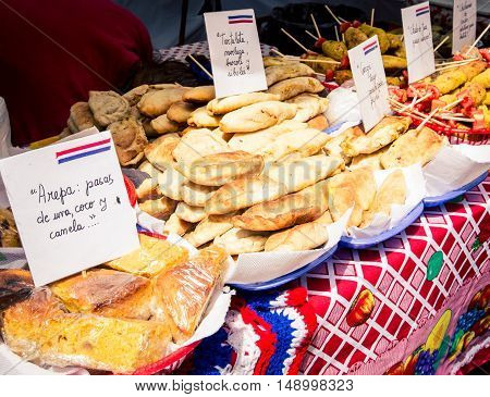 Empanadas on display at street carnival in buenos aires