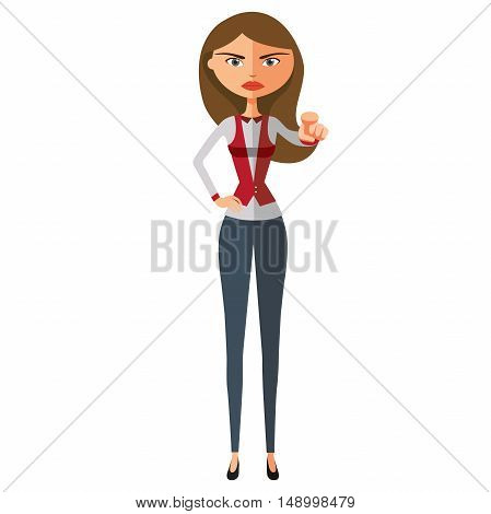 Emotional businesswoman pointing finger. Serious woman pointing at someone.