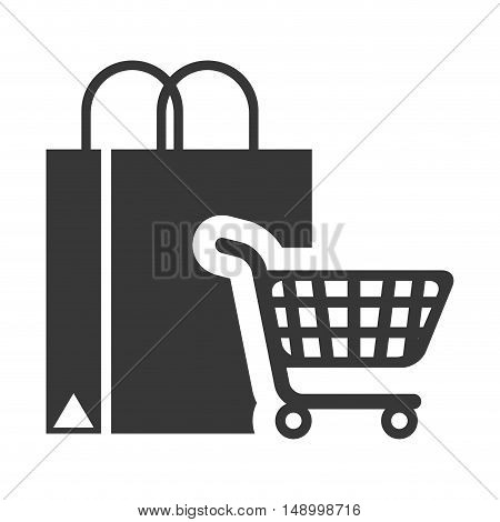 shopping bag with supermarket trolley icon silhouette. vector illustration