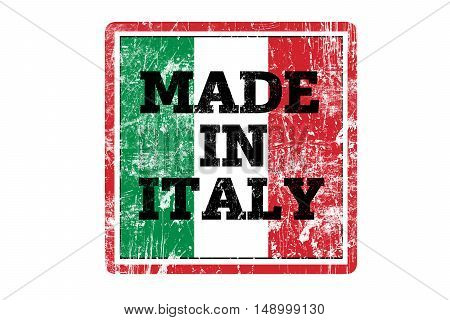MADE IN ITALY word written on red rubber stamp and flag with grunge edges.