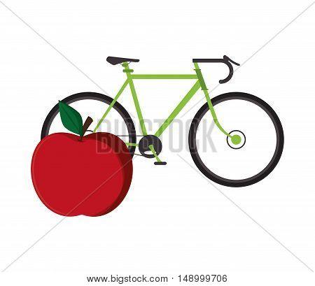 flat design bike and apple  icon vector illustration