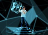 3d technology, augmented reality, gaming, cyberspace and people concept - happy young man with virtu poster