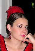 picture of senorita  - A gorgeous young woman dressed as a flamenco dancer - JPG