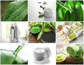 Collage of cosmetic products and spa compositions. Beauty treatment concept. poster