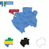 Постер, плакат: Gabon Blue Low Poly Map With Capital Libreville