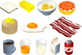 Breakfast clipart illustrations, vector, 3d isometric style: bread, butter, cereal, grapefruit, panc