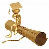 Golden Grad In Thinker Pose On Diploma Graduation Concept