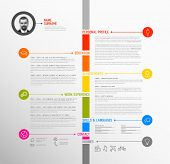 Vector minimalist cv / resume template - minimalistic colorful version, with timeline in the middle poster