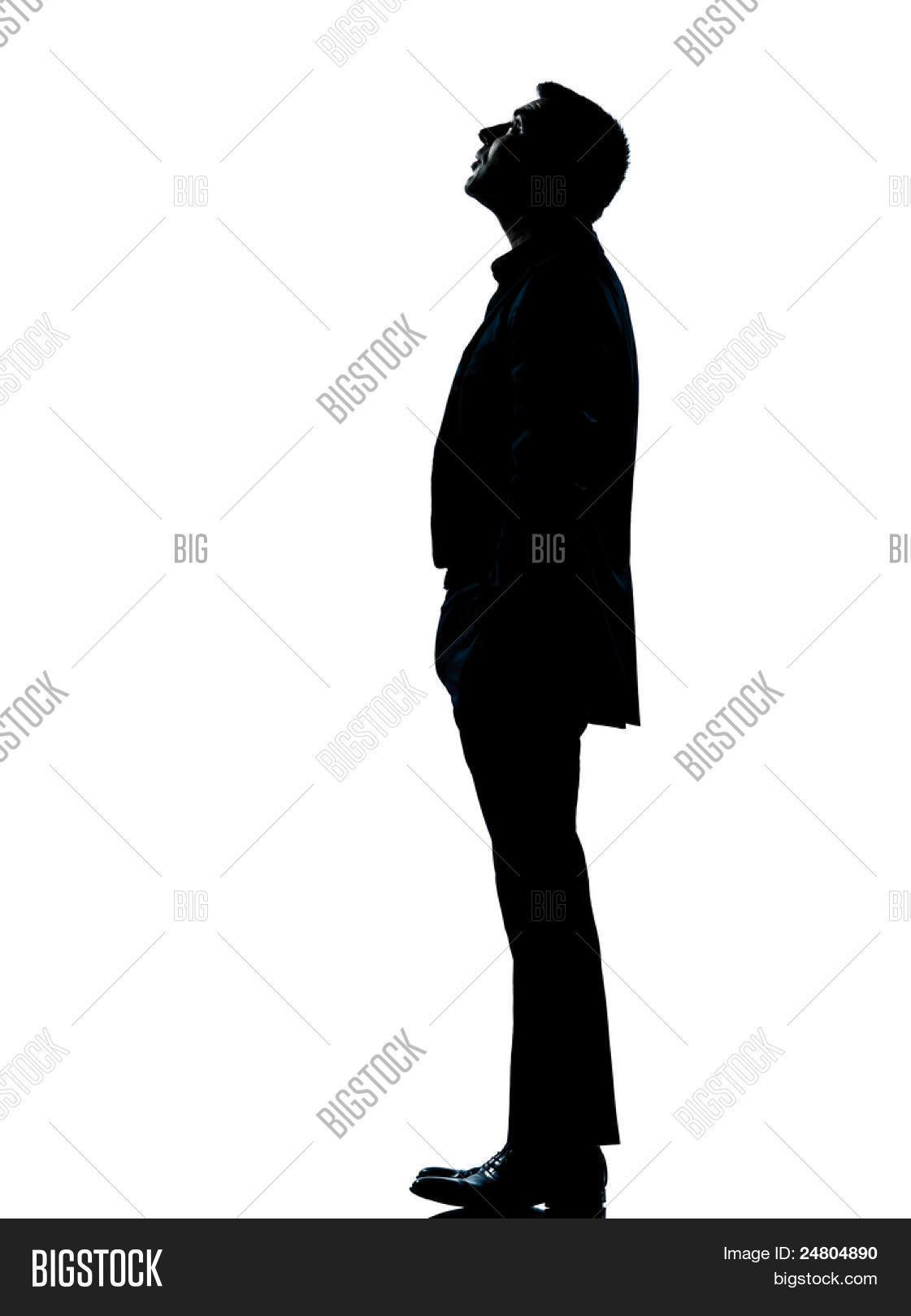 one caucasian business man silhouette standing looking up ...