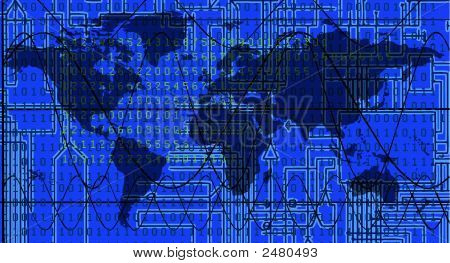 World Map With Electronic Background: Vector