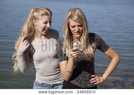 Woman Lake Phone Laugh