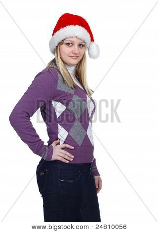 Young Women With Santa Hat