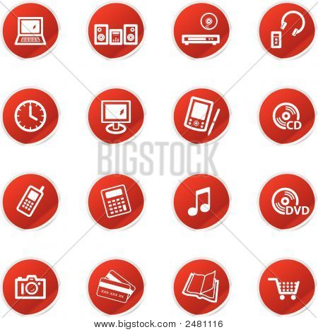 Red Sticker Home Electronics Icons