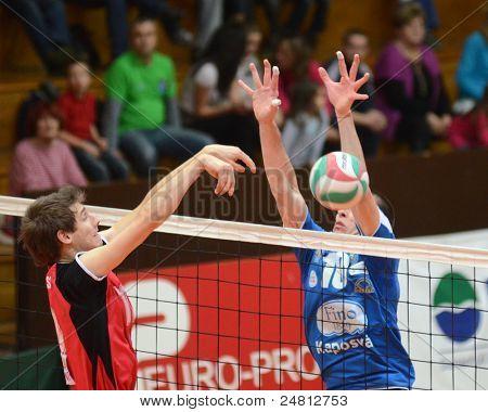 KAPOSVAR, HUNGARY - OCTOBER 29: Tamas Kaszap (R) in action at a Hungarian National Championship volleyball game Kaposvar (blue) vs. Szolnok (red), October 29, 2011 in Kaposvar, Hungary.