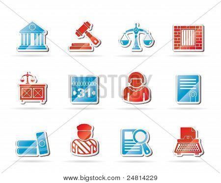 Iconos de la justicia y el sistema Judicial