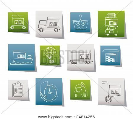 Logistic, cargo and shipping icons