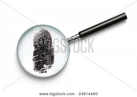 Magnifying glass examining fingerprint isolated on white with soft shadow concept for crime or forensic science