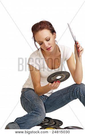 Pretty Redhead Choosing A Record