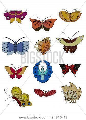 Set Of Twelve Butterflies.