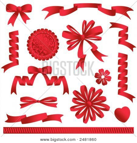 Red Bows, Banners, Ribbons, Embellishments