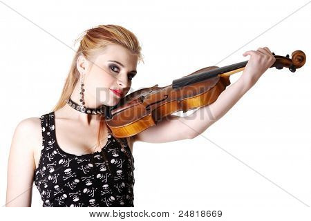 Young punk girl holding her fiddle. Isolated on white.