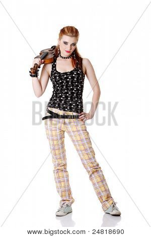 Teen pretty punk girl standing and holding fiddle on her arm. Isolated on white.