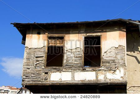 Ruins of an old house after earthquake