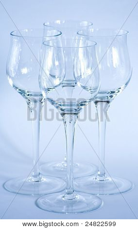 Arrangement Of Elegant Wine Glasses.