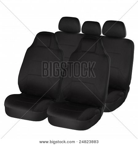 Black Ergonomic Car Seats Isolated On White