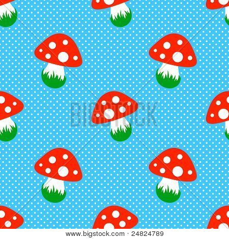 blue polka dot pattern with red toadstool mushroom seamless
