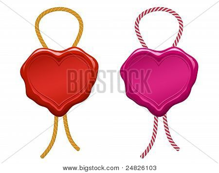 red blank heart wax seal with string