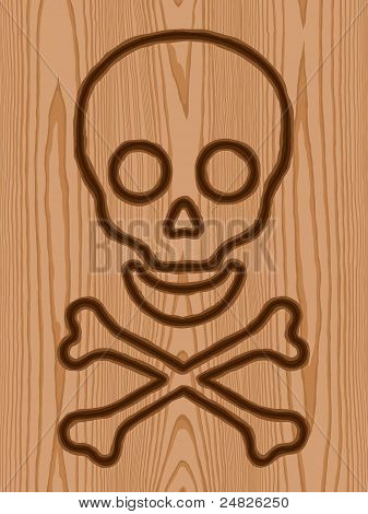 wreath with skull and crossbones brand wood pattern background