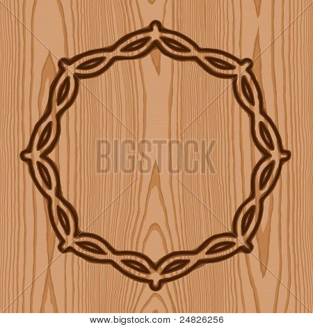 wreath with thorns brand wood pattern background