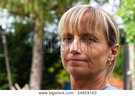 Relaxed Middle Aged Woman Face