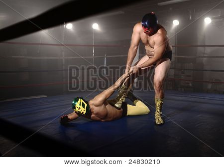 Masked wrestlers fighting