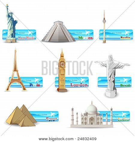 world famous monument with air ticket