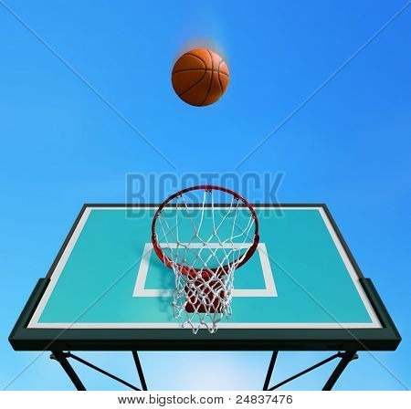 Basketball board on sky background