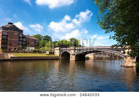 Famous bridge and River Ouse  in York, uk
