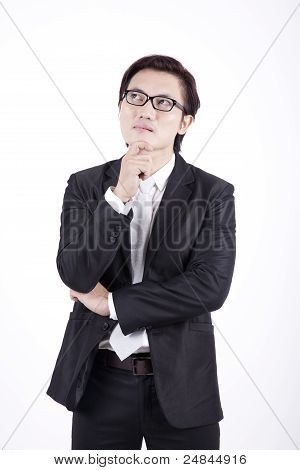 Toughtful Asian Businessman
