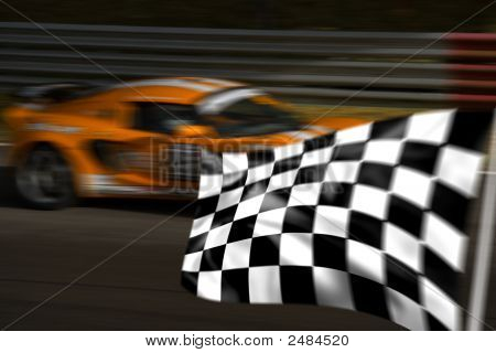 Orange Racing Car y cuadros / Bandera a cuadros
