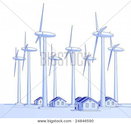 Industry concept: wind-driven generators & houses with solar power systems. Bitmap copy my vector id 18708979